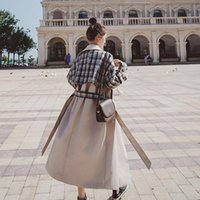 Women's Trench Coats SuperAen Double-breasted Long Windbreaker With Belt Plaid Patchwork Coat Office Lady For Women