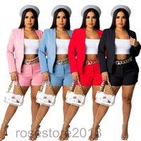 women's autumn and winter new fashion Solid Color Womens Pant Suit Blazers Long Blazer Short Pants 2pcs Suits Casual Loose Lapel Neck Ladies Sets cy0098