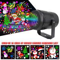 16 modelli luci natalizie rotanti effetti a led proiettore laser luce snowflake alk proiezione lampada notte palcoscenico illuminazione per esterno