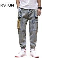Kstun mens coloré jeans denim poches poches pantalons cargo jeans hommes décontractés ajustement meuble vintage harem pantalon multin poches joggers homme homme