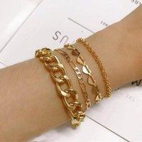 Link, Chain 4pcs set Punk Gold Sliver Multilayer Bracelets For Women Jewelry Heart Fashion Girls & Bangles 2021