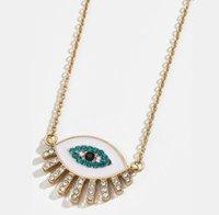 Цепи 2021 старинные хрустальные эмаль глазные ожерелье горный хрусталь заполнены злые ожерелья для женщин богемный золотой колье