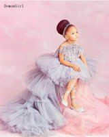Girl's Dresses High Low Flower Girl Appliqued Tiered Puffy Tulle Little Princess Pageant Dress Birthday Gown Poshoot
