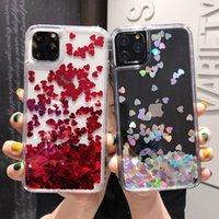 Glitter Love Heart Sequins Quicksand Cajas de teléfono Duro a prueba de golpes para iPhone 12 11 Pro Max XR XS x 8 7 6S PLULADA CUBIERA DE LÍQUIDO DINÁNICO