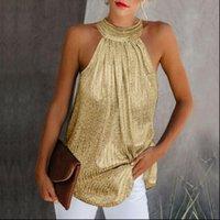 Camicia della camicia della camicia dell'oro delle donne della camicia di modo del collo alto senza maniche della maniche del collo del collo dell'ottima del collo dell'alto estate