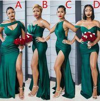 فساتين العروسة الخضراء مثير عالية سبليت مصمم مرونة الحرير حورية البحر قبالة الكتف مخصص خادمة الشرف ثوب vestido