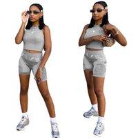 2021 Frauen Sportanzug Frühling und Sommer Neue Mode Outfits Weste Crop Tops Shorts Trainingsanzug Sport Casual Gym Yoga Zweiteiler Set H2UBJS