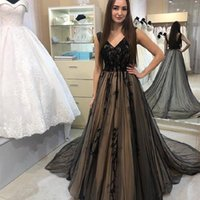 Party Dresses Elegant Black A-Line Prom 2021 V-Neck Lace Appliques Sleeveless Evening Gown For Women Backless Sweep Train