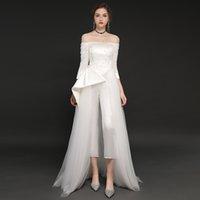 2021 эндотек белые комбинезоны три четверти рукава Новый тюль атласная свадьба ES от плеча Vestidos de Festa Xav7