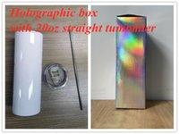 Süblimasyon Holografik Kutu ile Düz Tumbler 20oz Sıska Tumblers 304 Paslanmaz Çelik Kupası Artı Saman Benzersiz Ambalaj Seti