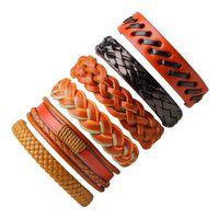 Tennis 6PCs Vintage Leather Bracelet Men's Set Multilayer Braid Bracelets & Bangles Wrap Rope Chain Punk Men Armband Jewelry