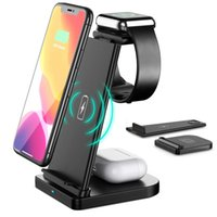 3 in 1 Qi Wireless Charger 15W Fast Charging Dock Station Foldable Holder For iPhone 13 12 11 XS X 8 Apple Watch 7 6 SE 5 Airpods Pro Samsung S20 Xiaomi Huawei Smartphone