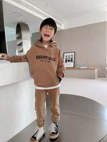 Осень дети мальчики девочек наборы мальчика хлопок с капюшоном с капюшоном + брюки спортсмены зимняя детская одежда