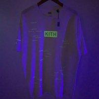 2021 Yeni T-Shirt Yansıtıcı Aydınlık Kutu Davranır Encrpyted Erkekler Wome 1: 1 Yüksek Kaliteli Üst Tees Streetwear Kith T-shirt 4L4A