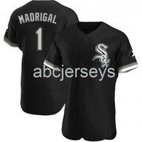 Nick Madrigal # 1 블랙 Ver1 야구 유니폼 XS-6XL