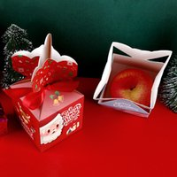 Christmas Apple Box Packaging Boxs Red Santa Claus White Snowflake Paper Bag Creative Christma Eve Xmas Fruit Gift Case Candy Kids Gifts