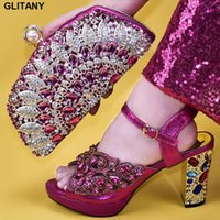Dress Shoes Women Shoe And Bag Set In Italy Decorated With Rhinestone High Heel Wedding Bride Cristal