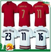 Portugal 2021 Ronaldo Soccer Jersey 20 21 Nani Miguel Silva Moutinho Adulto Men + Kit Kit Camisa de Futebol
