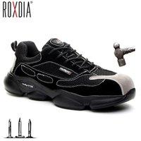 Roxdia Marke Lightweight Steel Toecap Männer Sicherheitsschuhe Frauen Arbeit Outdoor Atmungsaktive männliche weibliche Schuhe plus Größe 36-46 RXM648 210315