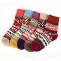 Sports Socks Multicolor Warm Wool Cotton Sock Casual Women Mens Winter Retro National Style Printed Soft Mid-calf