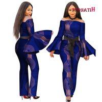 2018 African Print Women Jumpsuit Slash-Neck Long Horn Sleeve Sexy Romper Wide Leg Pants African Ladies Jumpsuits Rompers WY2634