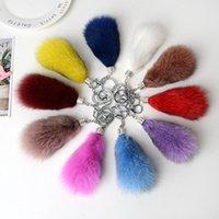 Porte-clés à queue de fourrure de fourrure de renard multi-couleurs Bijoux Pendentif Accessoires