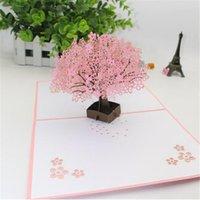 Cartes de voeux à la main 3D Up Cherry Blossoms Arbre Lover Saint Valentin Papier Sakura Invitation Grossiste
