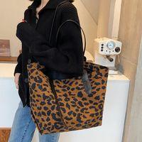 Retro Leopar Zebra Hayvan Baskı Kadın Çanta Tassle Bayan Büyük Kapasiteli Casual Tote Omuz Alışveriş Çantaları PU Deri 2021