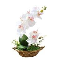 Flores decorativas guirnaldas elegante simulación artificial seda flor mariposa orquídea bonsai fake plantas mesa adorno decoración del hogar CR