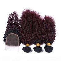버진 페루 부르고뉴 Ombre 인간의 머리카락 폐쇄 킨키 곱슬 1B 99J 와인 레드 2Tone Ombre 4x4 3Bundles와 4x4 전면 레이스 폐쇄