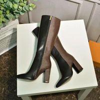 새로운 패션 럭셔리 숙 녀 높은 굽 부츠 세련된 편안한 부드러운 가죽 소재 15 인치 숙녀 나이트 부츠 인쇄 직물 크기 35-42