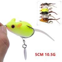 6 цветных смешанных 5 см 10,5 г мыши мягкие приманки приманки рыболовные крючки двойной крючок PESCA рыболовные снасти FS-258