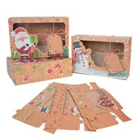 Gift Wrap 3Pcs set Christmas Cookie Box Kraft Paper Candy Boxes Bags Food Packaging Party Kids Year Navidad