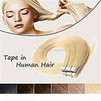 Cinta en las extensiones de cabello humano Blonde Blonde # 613 Larga recta de la piel sin costura Pelo de la trama invisible Cintas de doble cara Cintas Real 50 g 20pcs