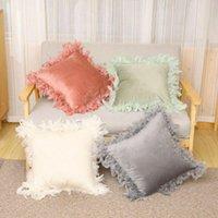 Pillow Velvet Feather Throw Cases Fluffy Sofa Cushion Cover Family Decor 45 45cm Solid Square Tassel 2021