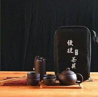 Chinês feito à mão / jogo de chá de Kungfu do vintage japonês do vintage - bule de porcelana 6 bandeja de chá de bambu com um saco de viagem portátil