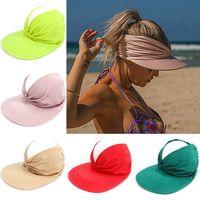 Yaz şapka kadın Güneşlik Sunhat Anti-Ultraviyole Elastik Hollow Üst Şapkalar 2021 Açık Rahat Kapaklar Kadınlar