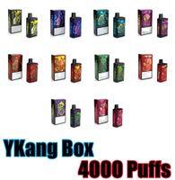 Puf Barları Tek Kullanımlık Vapes Cihazı 4000 Puffs YKang Kutusu E Sigara Şarj Edilebilir 550 mAh Pil 10 ml Pods 10 Renkler