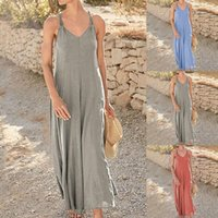 Casual Dresses Sexy Woman Summer 2021 V-Neck Spaghetti Straps Sleeveless Solid Loose Shift Maxi Long Dress Beach Holiday