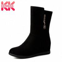 Kemekiss حجم 33 43 النساء منتصف العجل الأحذية عالية الكعب الإناث مشبك الشتاء الدافئ الفراء أحذية امرأة إسفين سستة نصف أحذية قصيرة الجليد t0uc #