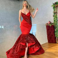 2021 Luxury Red Evening Dress Sequins Satin Mermaid Prom Gowns High Quality Ruffle Skirt Party Dresses
