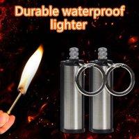 Llavero de la botella de encendedor portátil impermeable al aire libre con contenía el núcleo de algodón Fire Metal Meta retro coincidencias Flint Fire Core # 4