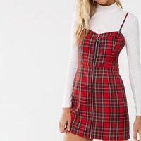 Harajuku kolsuz fermuar up wome güzel elbise tiki tarzı kırmızı ekose spagetti kayış underdress serin mori kız ekose elbise