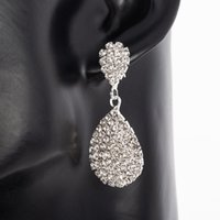 Fashion Gold Silver Color Dangle Earring with Full Crystal Luxury Water Drop Earrings Women Bridal Wedding Party Jewelry Gifts