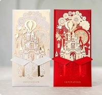 1 шт. Пожелания пожелания лазерные вырезать свадебные приглашения карты 3D золотая позолоченная невеста и невеста в замке для привлечения свадебный душ