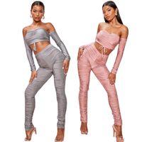 Casual de las mujeres Otoño Pequeño Fragancia Cuerpo Sexy Tenta Cien Fashion Fashion Sports Two Piece Traje