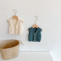 INS baby kids clothing sweater Vest V-neck Knitted Solid Color Cardigan sweater 100% Cotton Boutique Girl boy spring fall sweater
