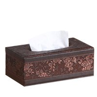 Tissue Boxes & Napkins Retro Home Pu Leather Vintage Rectangular Paper Napkin Box Case Household Office Holder