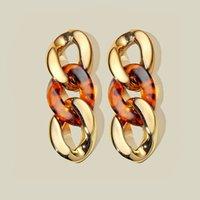 خمر ab اللون سلسلة مشبك أقراط المرأة المعادن الاكريليك أقراط طويل شرابة إسقاط أقراط مجوهرات هدية بالجملة 2021
