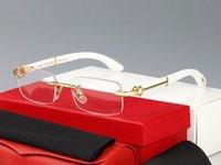New Wood Sunglasses para Homens Branco Búfalo De Madeira Chifre Eyeglasses Mulheres Marca Design De Bambu Sem Rimless Óculos De Sol Oculos Lunettes de Soleil